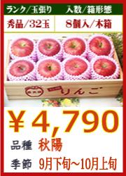 美味しいりんご 秋陽8個 木箱入