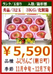 美味しいりんご ふじ(朝日町)3KG 化粧箱入
