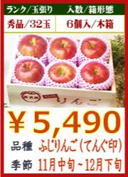美味しいりんご ふじ(天狗印)6個 木箱入