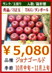 美味しいりんご ジョナゴールド 5KG