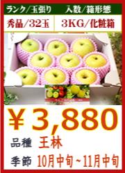 美味しいりんご 王林 3KG 化粧箱入