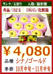 美味しいりんご シナノゴールド 3KG 化粧箱入