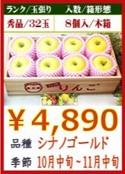 美味しいりんご シナノゴールド8個 木箱入
