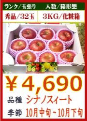 美味しいりんご シナノスィート 3KG 化粧箱入