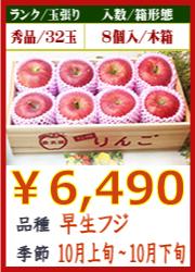 美味しいりんご 早生フジ8個 木箱入