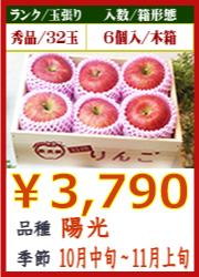 美味しいりんご 陽光6個 木箱入